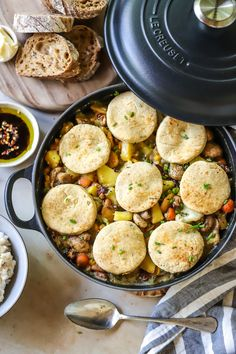 This comforting pot pie is filled with healthy vegetables and topped with a twist! Instead of the usual puff pastry lid, flavoursome chive biscuits are used as a topping instead.  Photo and recipe courtesy of Life in the South. Vegetable Pot Pies, Healthy Vegetables, Biscuits, Winter, Recipes, Life, Crack Crackers, Winter Season, Cookies