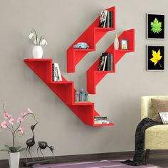 Shelves for a corner Bookshelf Design, Wall Shelves Design, Unique Wall Shelves, Home Decor Furniture, Diy Home Decor, Furniture Design, Wall Shelf Decor, Creative Decor, Home Interior Design