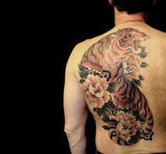 Japanese tiger tattoo backpiece, artist unknown by re-pinner