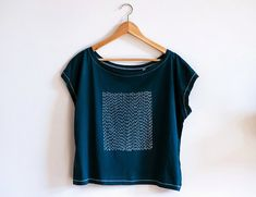 Indigo Sashiko Tshirt/ Off shoulder Organic Cotton by WanderingNebula on Etsy https://www.etsy.com/listing/230383556/indigo-sashiko-tshirt-off-shoulder