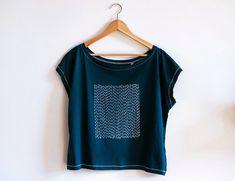 Indigo Sashiko Tshirt/ Off shoulder Organic Cotton by WanderingNebula on Etsy https://www.etsy.com/listing/230383556/indigo-sashiko-tshirt-off-shoulder