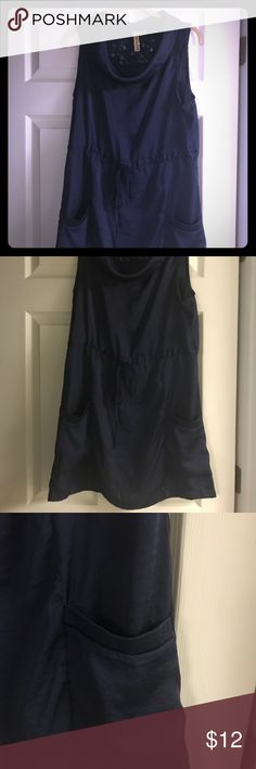 Blue Satin Dress! Great blue satin dress (second photo shows bottom). Has been loved and a little fraying at the belt (shown in picture). Gorgeous lace back and REAL pockets 😍 Eyeshadow Dresses Midi