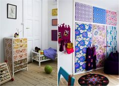 Cover plain furniture and wardrobe doors with sheets of patterned gift wrap!