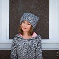 Купить Мягчайшее и теплейшее Шапо с Ушками - серый, однотонный, шапочка с ушками, стильная шапка