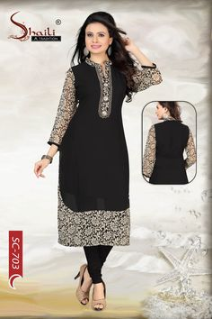 The Black Mystique Indian Designer Long Kurta by Snehal Creation