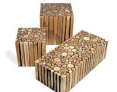 Garden furniture made from recycled branches. Could be used for tables and seats.