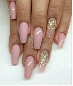 Soft Pink Gold Matte Nails