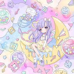 .✮ ANIME ART ✮ pastel. . .fairy kei. . .lavender hair. . .rainbow. . .toys. . .teddy bears. . .cute. . .kawaii