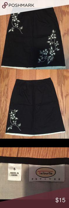 Talbots Petites Black and cream skirt. Talbots Skirts A-Line or Full