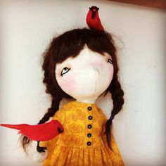 "A handmade art doll by A Stitch To Remember (@astitchtoremember) on Instagram: ""#astitchtoremember #handmade #doll #handmadedoll #birds #artdoll #oneofakind"" Handmade Art, Art Dolls, Birds, Stitch, Christmas Ornaments, Sewing, Holiday Decor, Room, Instagram"