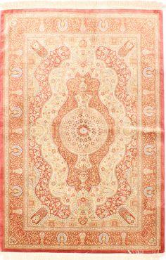 Ghom Design100% Silk Persian Rug