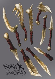 Bone weapons by Lutherniel on DeviantArt Bone Armor, Arm Armor, Bone Weapons, Dark Sun, Aztecas Art, Armas Ninja, Weapon Concept Art, Fantasy Weapons, Monster