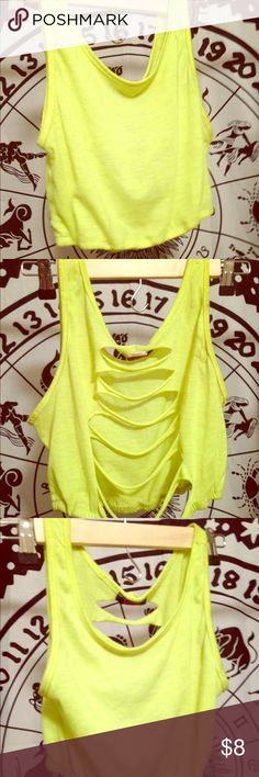 Neon Green Sliced Open Back Rave Crop Tank Top Perfect for dancing all day & night in the summertime! 😘😘😘😘 Tops Crop Tops