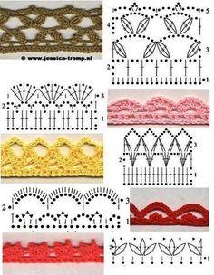 Gran variedad de modelos a elección con sus muestras tejidas y esquemas del punto, guardas,cenefas,bordes,galones,esquinas,mantelitos,puntil...