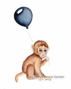 Items similar to monkey nursery decor, monkey baby art, monkey watercolor, monkey with balloon, baby Baby Room Paintings, Baby Painting, Baby Room Art, Baby Art, Paint Monkey, Monkey Art, Cute Monkey, Monkey Drawing Cute, Monkey Nursery