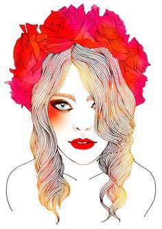 illustration by hajin bae Love Illustration, Watercolor Illustration, Doll Painting, Painting & Drawing, Rose Girl, Animation, Art Design, Hair Art, Artist Art