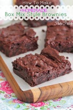 How To Make Homemade Box Mix Style Brownies by Picky Palate www.picky-palate.com