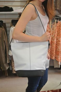 White & Black color block all leather bag! @Pip's Boutique
