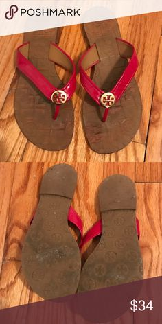 Tory Burch Hot Pink Flip Flops In good condition. Tory Burch Shoes Sandals