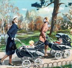 Two mothers looking elegantly beautiful as the take their youngsters for a stole through the park. #1950s #ad #stroller #carriage #pram #vintage #mother #baby #homemaker #housewife #fashion