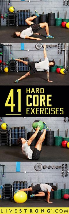 The 41 Hardest Ab Exercises : Think you?re hardcore -- or that you have a hard core? These 41 midsection-mangling moves are some of the most advanced on the planet. Fitness Workouts, Fitness Motivation, Sport Fitness, At Home Workouts, Fitness Tips, Health Fitness, Planet Fitness, Hard Core Ab Workout, Hard Ab Workouts