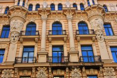 Jugendstil Building, Alberta iela (Albert Street), Riga, Latvia -- by Mikhail Eisenstein North Europe, Art Nouveau Architecture, Building Art, Mansions, House Styles, Photography, Riga Latvia, Design, Doors