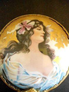 Art Nouveau Hand Mirror Ladies Boudoir Dresser Make Up Mirror Home and Living Home Decor Mirrors