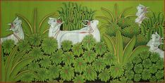 Lotus with Cow – Mahua Pichwai Paintings, Indian Art Paintings, Indian Folk Art, India Art, Indian Elephant, Silk Painting, Paint Designs, Lotus, Cow