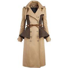 Burberry Cotton Blend Peplum Trench Coat
