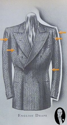 The English Drape: [suit as interpreted by Americans] introduced and became the predominate cut for suit. This style, which was cut for comfort, fell softly with a slight drape or wrinkle through the chest and shoulders because it had more fabric in the shoulders and chest