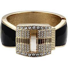 Fashion Black Zinc Alloy Twinkling Cubic Zirconia Bracelet ($16) ❤ liked on Polyvore