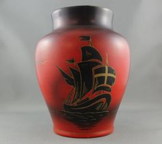 "Avast! Given how today is national ""Talk like a Pirate Day,"" we thought we'd share something with a ship on it! This gorgeous vase depicting a ship is part of the museum's Smith Potteries collection! Yo-ho-ho!  Fun fact, me hearties: there are not..."
