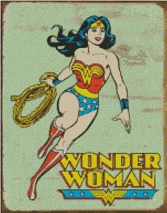 Wonder Woman cross stitch design by Uniquelyeunice