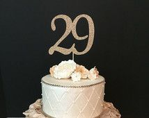 ANY NUMBER Gold Glitter 29th Birthday Cake Topper, number birthday cake topper