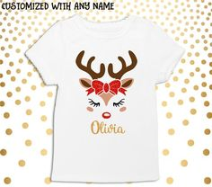 Christmas Tops, Christmas Shirts, Personalised Tops, Monogram, Find Us On Facebook, Cute Tops, Giveaways, Reindeer, Sparkles