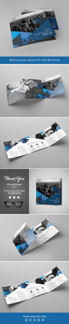 Corporate Tri-fold Square Brochure Design Template  03 - Corporate Brochures Template PSD. Download here: https://graphicriver.net/item/corporate-trifold-square-brochure-03/17674747?ref=yinkira