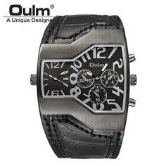 Men Oulm Big Designer Watch Leather Army Quartz Wristwatches