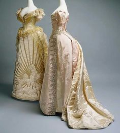 Evening dresses, by the House of Worth, ca. 1887-1892. Metropolitan Museum of Art.