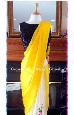 Contrast Saree Navy embellished blouse With boat neck Yellow saree