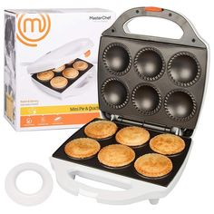 MasterChef Mini Pie and Quiche Maker- Pie Baker Cooks 6 Small Pies and Quiches in Minutes- Non-stick Cooker w Dough Cutting Circle for Easy Dough Measurement Kitchen & Dining Plants Day Waffle Bowl Maker, Belgian Waffle Maker, Beignets, Mini Pie Crust, Mini Pie Recipes, Baker And Cook, Best Pie, Cake Makers, Mini Pies