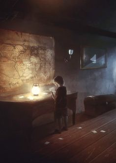 boy chest lamp map night time postcards floor wood painting boat frame strange table shadow room wonder fairy tale