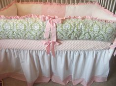 Hey, I found this really awesome Etsy listing at http://www.etsy.com/listing/127687184/green-and-pink-damask-girl-baby-bedding