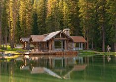This is a great log cabin! Headwaters Camp Cabin, Big Sky, Montana - Private Residence - traditional - exterior - other metro - Dan Joseph Architects Lake Cabins, Cabins And Cottages, Cheap Cottages, Mountain Cabins, Mountain Villa, Log Cabins For Sale, Green Mountain, Rustic Exterior, Exterior Design