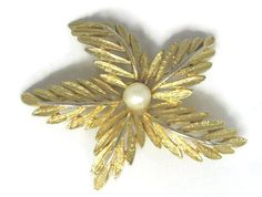 "#Vintage signed Carr #leaf #brooch with a faux pearl in the center. The brooch measures 2.5"" and the faux pearl is 7mm in size.   The stick pin portion is slightly bent, but... #vintage #jewelry #etsygift #sale #v2team"