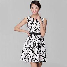 Mujeres Ciros ® de alta calidad de impresión geométrica elegante delgada de seda verdadero Vestido sin mangas – USD $ 30.79
