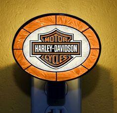 Harley-Davidson® Bar & Shield® Orange Art Glass Night Light HD-HDO-246