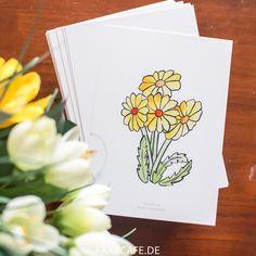 Verschicke zu Ostern süße Löwenzahn-Blumen im Aquarell-Look.