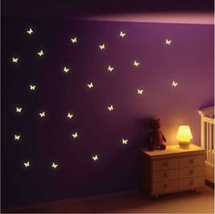 Buy Glow in the Dark Butterfly Wall Stickers from our Children's Room Stickers range at Red Candy, home of quirky decor. Butterfly Room, Butterfly Wall Decor, Butterfly Wall Stickers, Butterfly Kids, Purple Rooms, Purple Walls, Wall Stickers Red, Wall Decals, Wall Art