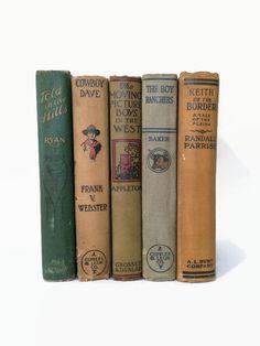 WESTERN COWBOY Vintage Decorative Books for Boys. by VeronicasDesk