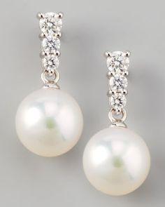 MIKIMOTO Akoya Earrings. 18K white gold, .29 tcw. $2,200.